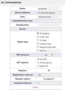 VoIP Gateway: SIP Configuration